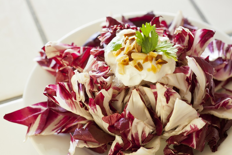 vegetarian dish of radicchio made into a blooming flower to display greek yogurt, slivered toast almonds and cilantro toppings